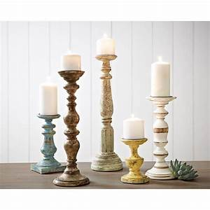 IMAX Trans Cain Distressed Wood Candle Holders (Set of 5