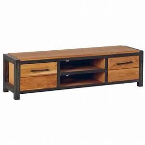 meuble tv chene et metal 2 portes 150cm ferscott With meuble style campagne chic 2 meuble tv en bois recycle 1 porte 2 tiroirs 2 niches