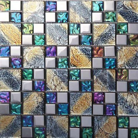 iridescent glass mosaic tile brick plating glass