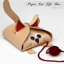 and cat paper gift boxes lines across