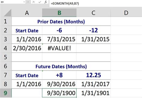 excel eomonth function addsubtract months