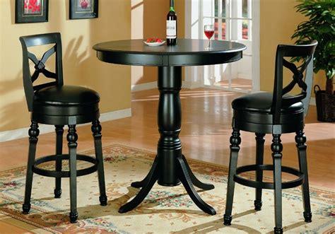 black finish pub table and two swivel bar stools set