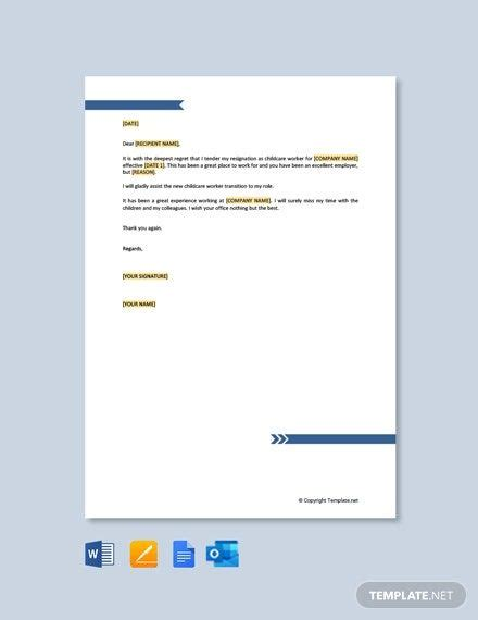 Instantly Download Free Child Care Worker Resignation ...