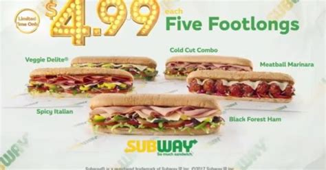 Five Dollar Footlongs Return To Subway With .99 Price