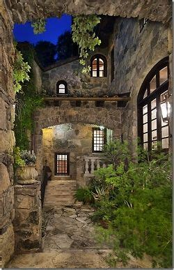 wonderful  world courtyard  tuscan house house exterior stone houses