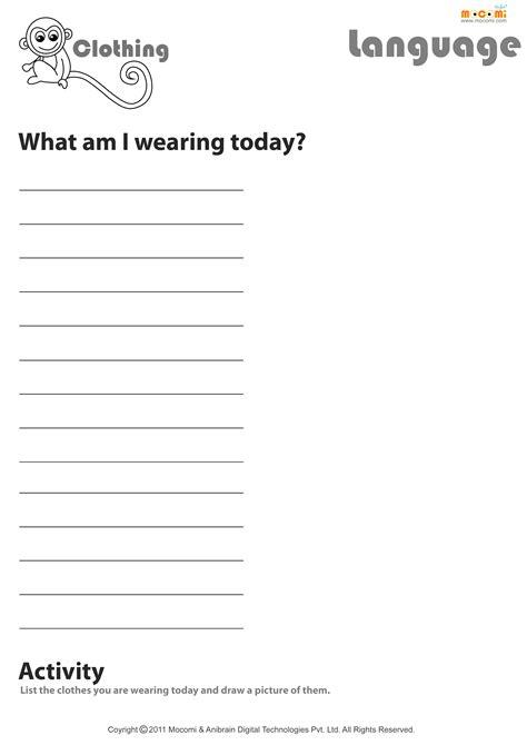 wearing today english worksheet  kids
