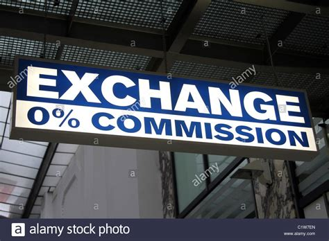 bureau de change 0 commission money exchange sign in prague stock photo royalty free