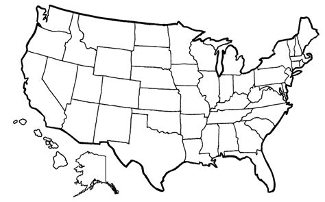 blank united states map  sketch coloring page