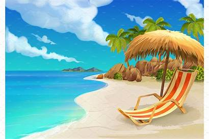 Tropical Beach Illustrations Graphics Market Background Vector