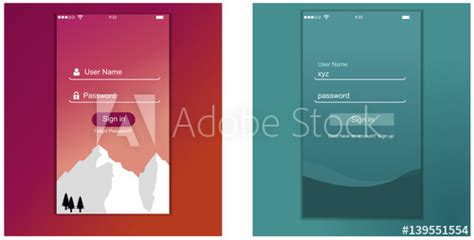 app login screen signup password screen layout login