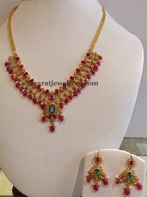 ruby drops necklace gms jewellery designs