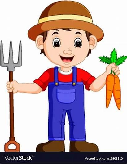 Farmer Cartoon Holding Young Vector Rake Preschool