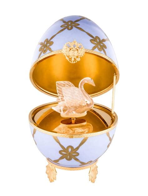 faberge imperial swan egg  box decor accessories