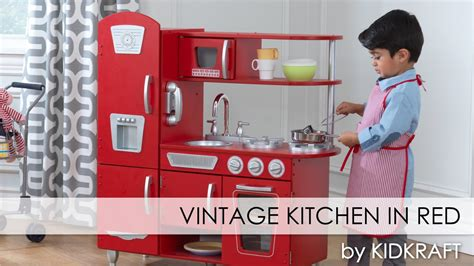 Children's Red Vintage Play Kitchen For Boys And Girls