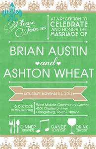 custom wedding reception invitation merely designs