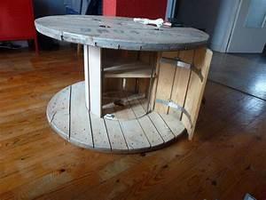 Idee le recyclage des tourets deco palettes bois for Idee deco cuisine avec fabrication de table en bois