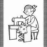 Seamstress Flash Card Coloring Printable Pages Template Freeprintable sketch template