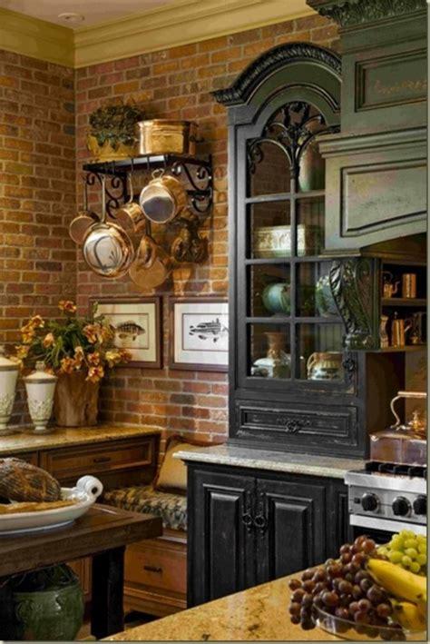 traditional kitchen  brick walls  ideas