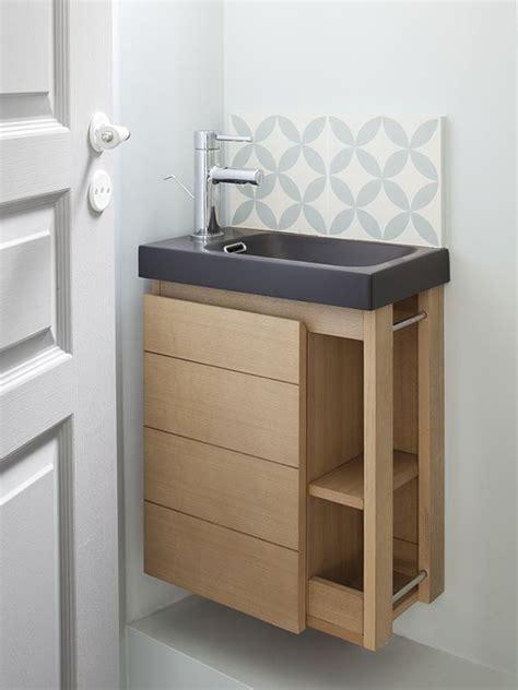 mini lave mains bois et carreaux de ciment bathroom salle de bain en 2019 salle de bain