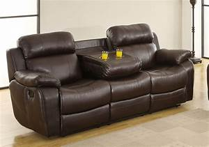homelegance marille sofa recliner with drop cup holder With leather sectional recliner sofa with cup holders