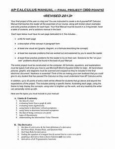 Ap Calculus Manual  U2013 Final Project  300 Points