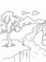 Coloring Pages River Drawing Water Scenery Mountain Nature Mountains Landscape Stream Books Printable Simple Drawings Adult Snake Outline Bestcoloringpagesforkids Template sketch template
