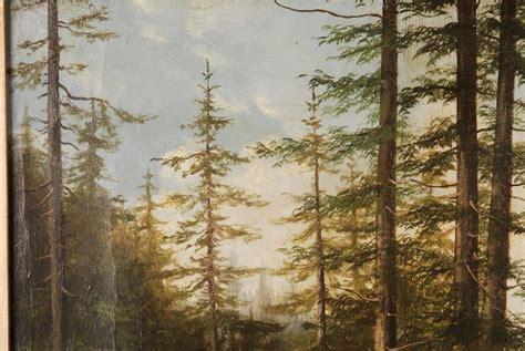 century biedermeier oil painting forest landscape