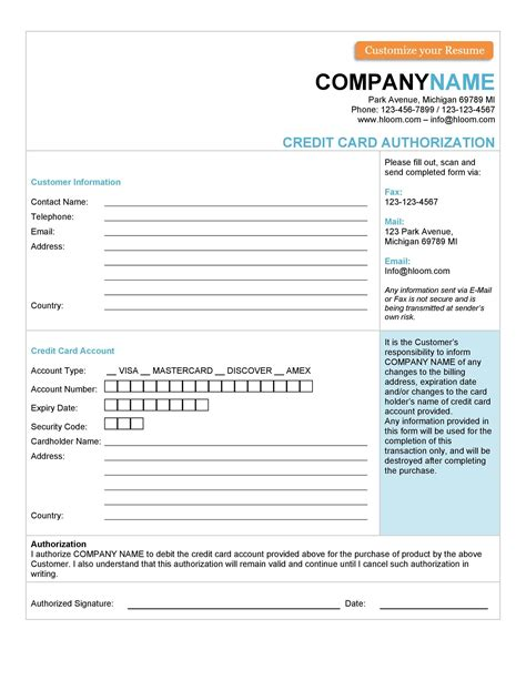 The recurring credit card authorization form is a document that will authorize a company (ie: 43 Credit Card Authorization Forms Templates {Ready-to-Use}