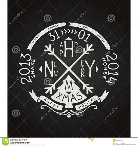 happy  year vector retro chalkboard lettering royalty
