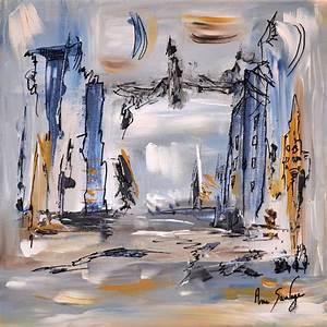 Peinture Blanc Gris : peinture abstraite moderne contemporaine grise bleu blanc ocre noir ~ Nature-et-papiers.com Idées de Décoration