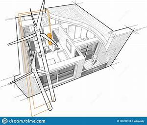 Apartment Diagram Connected To The Wind Turbines Stock