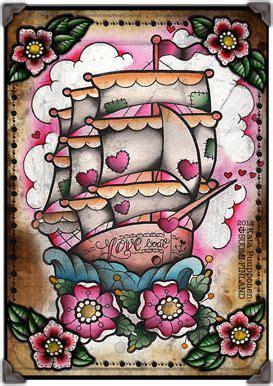 Love Boat Tattoo Flash Print Sheet by VorssaInk on Etsy, € ...
