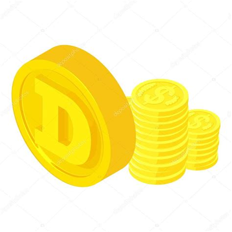Dogecoin cryptocurrency icon. Isometric illustration of ...