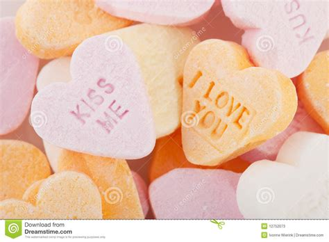 Love You And Kiss Me Candy Hearts Stock Image - Image