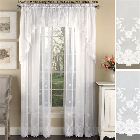 Sheer Window Treatments by Laurel Embroidered Sheer Voile Window Treatment