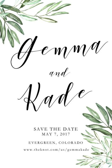 leaf name card template printable olive leaves save the date olive branch save