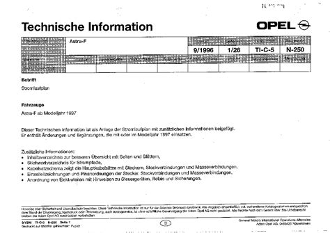 opel astra f wiring diagram service manual