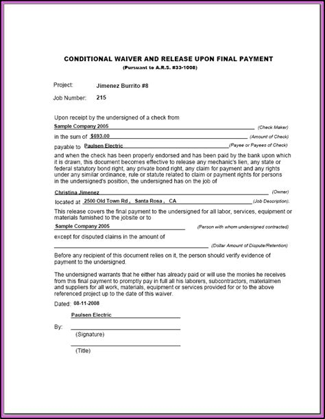 subcontractor lien waiver form illinois form resume