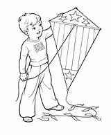 Kite Coloring Pages July Flying 4th Printable Sheets Kites Drawing Boy Colouring Spring Independence Fly Fourth Scene Kuwait Children Kid sketch template