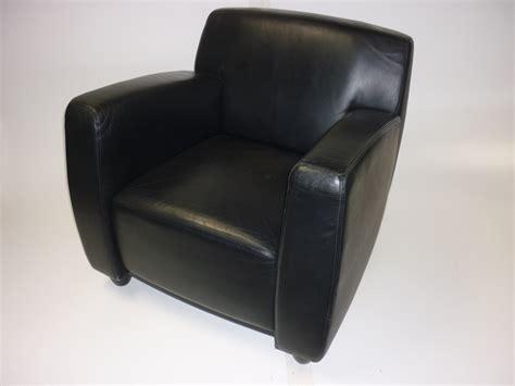 Whitmann Black Leather Reception Armchair