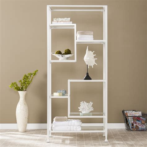 White Metal Etagere by Metal Glass Etagere White Southern Enterprises