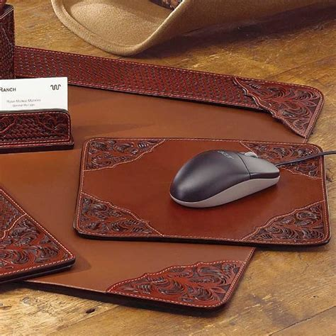 western office desk accessories tooled leather desk pad king ranch saddle shop