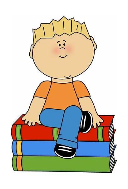 Clipart Sitting Clip Kid Books Boy Chair
