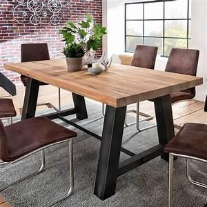Holztisch Mit Metallgestell : esstisch laval 200x100 cm in eiche massiv metall ~ Markanthonyermac.com Haus und Dekorationen