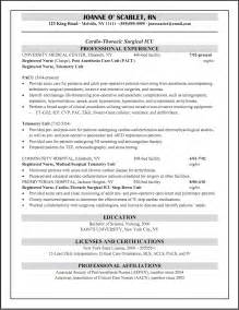 Pacu Rn Description For Resume by Pacu Resume Exle Cicu Registered Resume