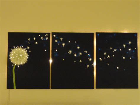 light up wall decor three panel dandelion wall art that lights up offbeat