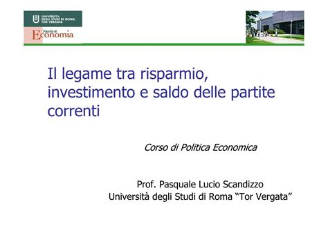 Dispense Economia Politica by Risparmio Investimenti E Saldo Delle Partite Dispense