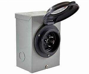 Conntek 80601 250v Temporary Generator Power Inlet Box  30 Amp  Black