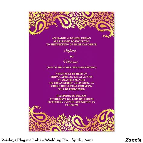 paisleys elegant indian wedding flat invitation zazzle