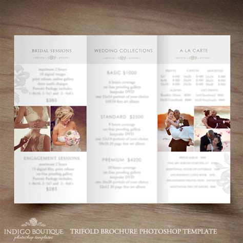 Price List Brochure Template by Wedding Photography Trifold Brochure Template Client